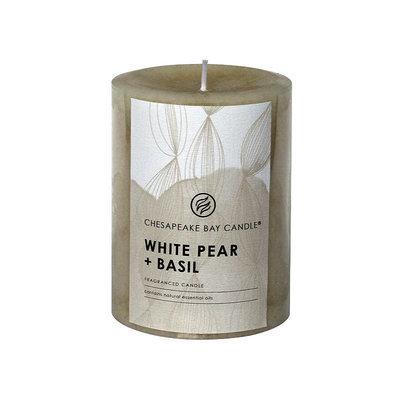 Chesapeake Bay Candle White Pear & Basil 4-in. Pillar Candle
