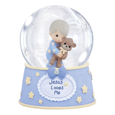 Precious Moments Jesus Loves Me Boy with Teddy Musical Water Globe
