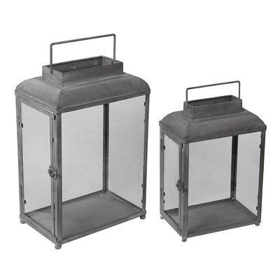 Privilege Grey 2-piece Decorative Iron Lanterns