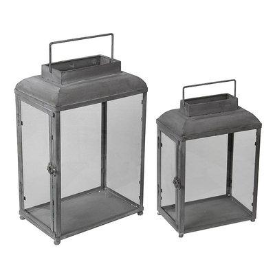 Privilege Grey 2-piece Decorative Iron Lanterns