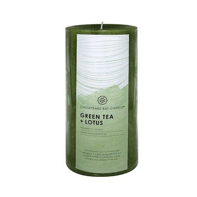 Chesapeake Bay Candle Green Tea & Lotus 8-in. Pillar Candle