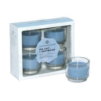 Chesapeake Bay Candle 4-piece Sea Salt (Blue) & Driftwood Votive Candle Set