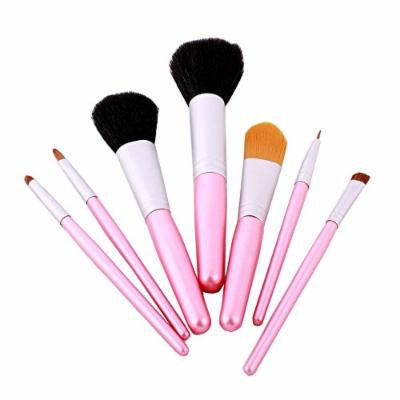 FASH Cosmetics© Professional 7 Pcs Goat Hair and Nylon Cosmetic Pink Brush Set with Pink Travel Pouch