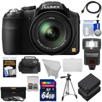 Panasonic Lumix DMC-FZ200 Digital Camera (Black) with 64GB Card + Case + 2 Batteries + Flash + Diffuser + Reflector + 3 UV/CPL/ND8 Filters + Tripod + Accessory Kit