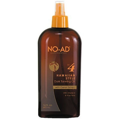 No Ad NO-AD Hawaiian Style Dark Tanning Oil, SPF 4, 16 Ounces