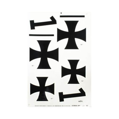 125 Pressure Decal German WWI Iron Crosses 5-1/2&6-1/2