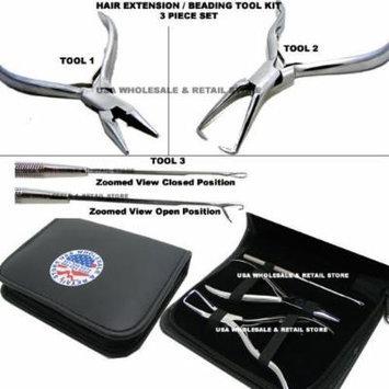 USA W&R Brand SILVER Micro Ring Hair Extension & Beading Tool Kit Plier Set (3 piece Set + Free Case)