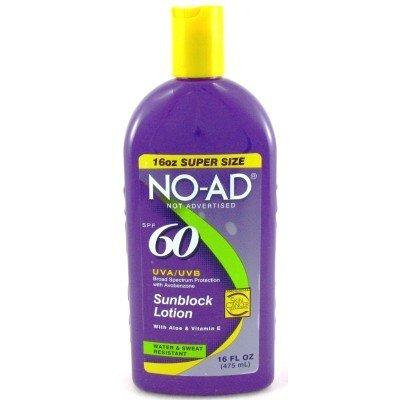 No-Ad SPF# 60 Sunblock Lotion 16 oz. (3-Pack) with Free Nail File
