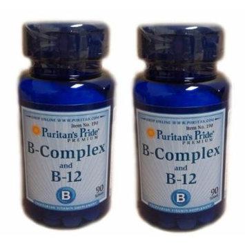 Puritan's Pride Vitamin B Complex and Vitamin B12 90 Tablets 2 Bottles
