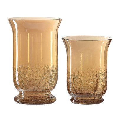 Global Amici Augustine 2 Piece Glass Hurricane Set