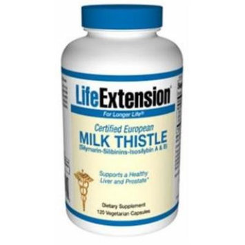Life Extension Certified European Milk Thistle Vegetarian Capsule, (Silymarin-Silibinin-Isosilybin A & B), 120 Count