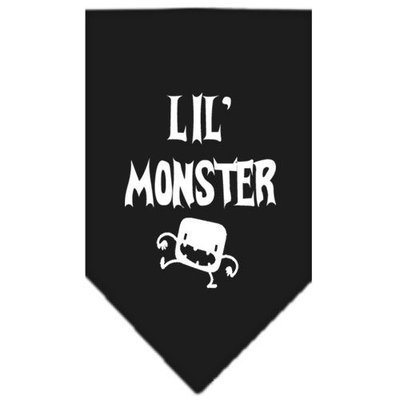 Mirage Pet Products 6646 SMBK Lil Monster Screen Print Bandana Black Small