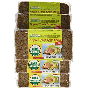 Mestemacher Organic Three Grain Bread, 17.6 Ounce Packages (Pack of 12)