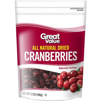 Wal Mart Stores Great Value All Natural Dried Cranberries, 12 oz