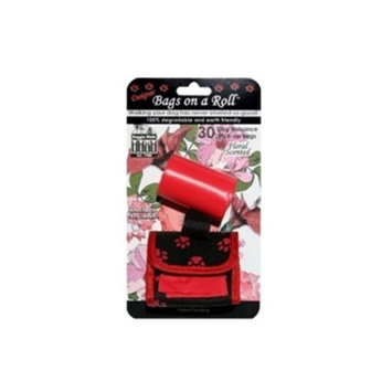 Doggie Walk Bags 2-Roll Designer Bags, Red Paw/Red/Floral