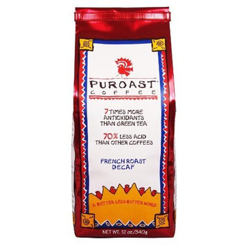 Puroast Low Acid Coffee French Roast Natural Decaf Whole Bean, 0.75-Pound Bag (Pack of 2)