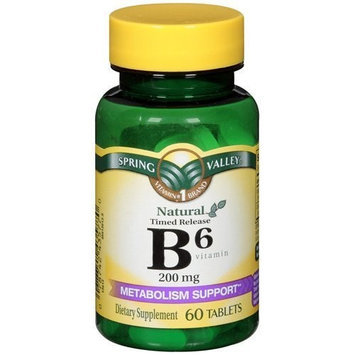 Spring Valley - Vitamin B-6 (Pyridoxine) 200 mg, 60 Tablets