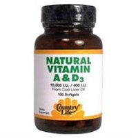 Country Life Natural Vitamin A and D - 10000 IU - 100 Softgels