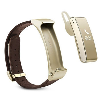 Huawei TalkBand B2 Wireless Activity Tracking Wristband + Bluetooth Earpiece - Gold/Leather