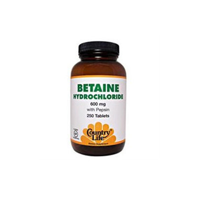 Country Life Betaine Hydrochloride - 600 mg - 100 Tablets