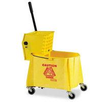 Rubbermaid Commercial WaveBrake 44 Quart Bucket/Sideward Pressure Wringer Combination, Yellow