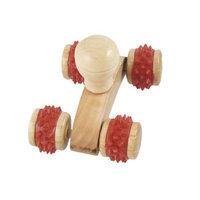 Rubber Coated 4 Wooden Wood Wheels Back Body Massager Roller