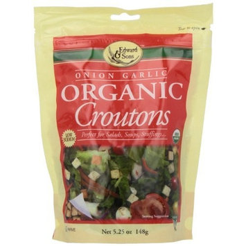 Edward & Sons Organic Croutons, Onion Garlic, 5.25-Ounce Packs (Pack of 6)