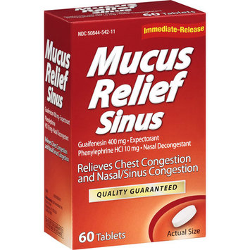 LNK International: Mucus Relief Sinus Tablets Expectorant/Nasal Decongestant, 60 ct