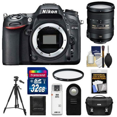 Nikon D7100 Digital SLR Camera Body with 18-200mm VR Lens + 32GB Card + Case + Filter + Remote + Tripod + Accessory Kit