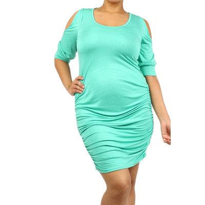 Plus Maternity Dress Body-con Cold Shoulder - Online Exclusive