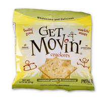 Partners Get Movin' Crackers, Roasted Garlic & Rosemary, 0.75-Ounce Bags (Pack of 60)