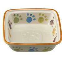 Ethical Pet Paw Print Square Dish Dog Pet Dish