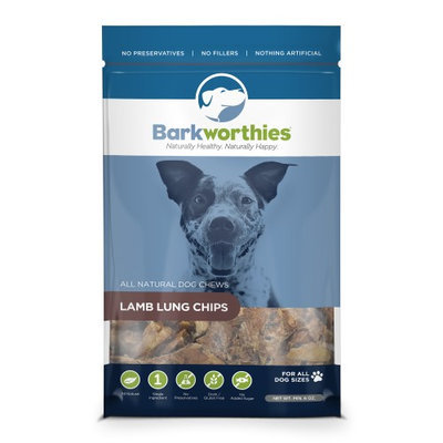Barkworthies All Natural Lamb Lung Chips Dog Treats