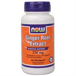 NOW Foods Ginger Root Extract, 250mg, Vegetarian Capsules, 90 ea