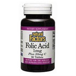 Folic Acid 400 mcg by Natural Factors - 90 Tablets