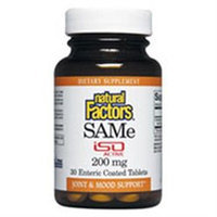 Natural Factors SAMe - 200 mg - 30 Enteric Coated Tablets
