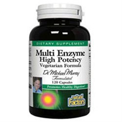 Multi Enzyme Vegetarian Formula 60 Capsules, Natural Factors