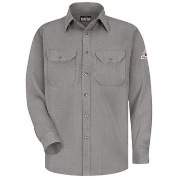 Bulwark Men's Grey Twill Modoacrylic Long Sleeve Dress Work Shirt