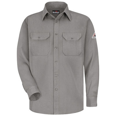 Bulwark Men's Grey Twill Modoacrylic Long Sleeve Dress Work Shirt