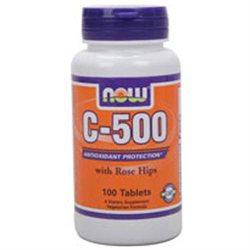 NOW Foods - Vitamin C-500 with Rose Hips Vegetarian/Vegan - 100 Tablets