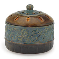 Candle Warmers Etc. Azure Scroll Candle Aire Wax Melt Warmer, Blue