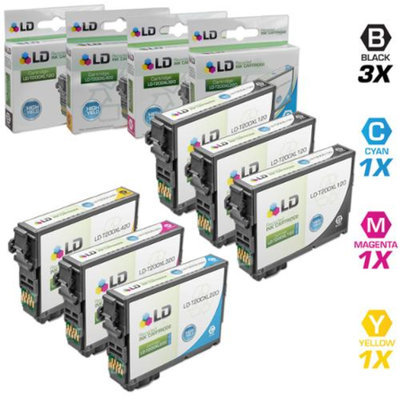 LD Epson Remanufactured T200XL Set of 6 High Yield Ink Cartridges: Includes 3 Black T200XL120, 1 Cyan T200XL220, 1 Magenta T200XL320, & 1 Yellow T200XL420