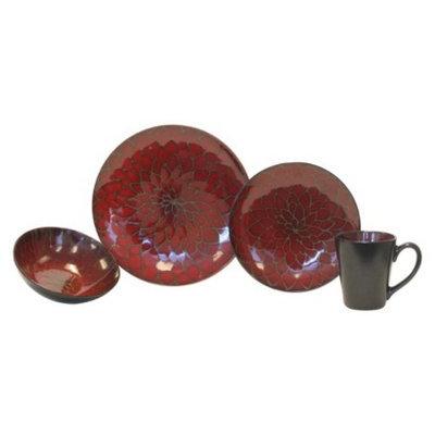 Baum Bros. Dahlia 16 Piece Dinneware Set - Red