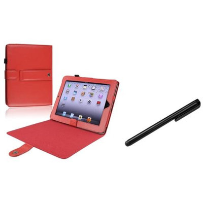 Insten INSTEN Red Leather Skin Cover Case+Bk Stylus Pen For iPad 1 3G