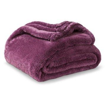 Threshold Fuzzy Throw Blanket - Plum