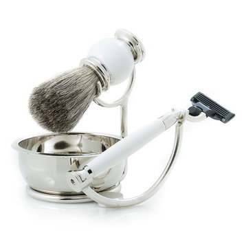 Bey-berk Int'l Pure Badger Shave Set with Soap Tray