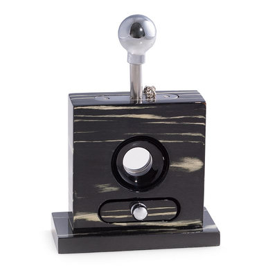 Table Top Ebony Guillotine Cigar Cutter with Drawer