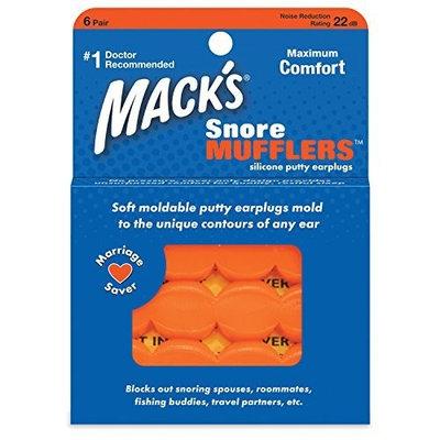 Macks Snore Mufflers Silicone Putty Earplugs, 6 Pairs (Pack of 2)