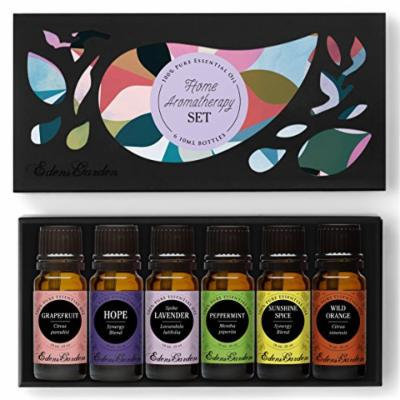 HOME Aroma Set 100% Pure Therapeutic Grade Essential Oil Kit- 6/10 ml of Grapefruit, Hope, Lavender (Spike), Peppermint, Sunshine Spice and Wild Orange Aromatherapy Oils by Edens Garden