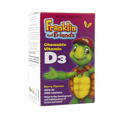 Treehouse Franklin and Friends Chewable Vitamin D3 400 IU, Tablets, Berry, 250 ea